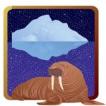 Image of brown walrus in front of a white iceberg on a dark blue sea.